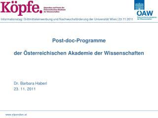 Post- doc -Programme der Österreichischen Akademie der Wissenschaften
