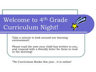 Welcome to 4 th  Grade Curriculum Night!