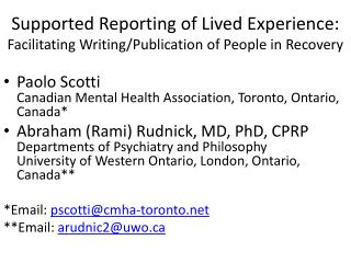 Supported Reporting of Lived Experience: Facilitating Writing/Publication of People in Recovery