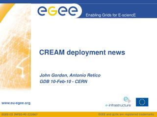 CREAM deployment news