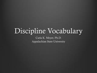 Discipline Vocabulary