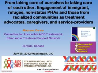 Maureen Owino Committee for Accessible AIDS Treatment & Ethno racial Treatment Support Network