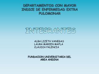 DEPARTAMENTOS CON MAYOR  INDICE DE ENFERMEDAD EXTRA PULOMONAR