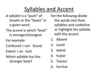Syllables and Accent