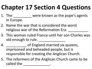 Chapter 17 Section 4 Questions