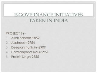E-GOVERNANCE INITIATIVES TAKEN IN INDIA