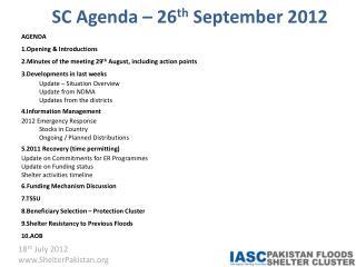 SC Agenda – 26 th  September 2012