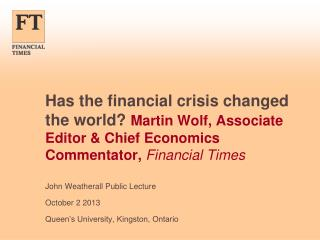 John  Weatherall  Public Lecture October 2 2013 Queen's University, Kingston, Ontario