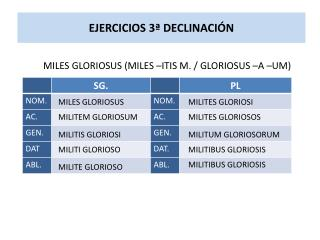 EJERCICIOS 3ª DECLINACIÓN