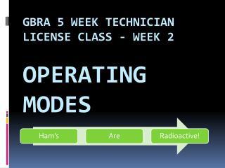 GBRA 5 Week Technician License Class - Week 2  Operating Modes