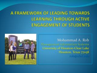 A Framework of Leading towards Learning through Active Engagement of Students