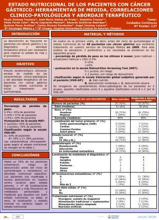 ESTADO NUTRICIONAL DE LOS PACIENTES CON CÁNCER GÁSTRICO: HERRAMIENTAS DE MEDIDA, CORRELACIONES
