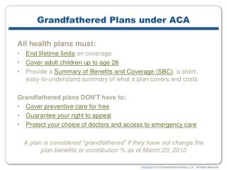 Grandfathered Plans under ACA