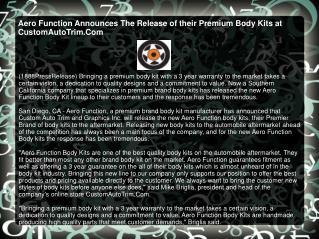 Aero Function Announces The Release of their Premium Body Ki