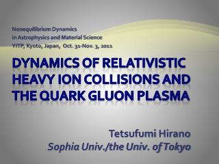 Dynamics of Relativistic Heavy Ion Collisions and THE Quark Gluon  PlasMA