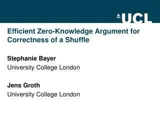 Efficient Zero-Knowledge Argument for Correctness of a Shuffle