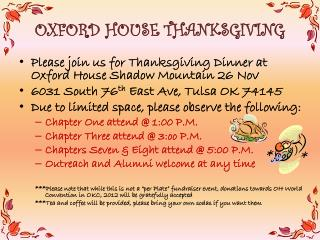 OXFORD HOUSE THANKSGIVING