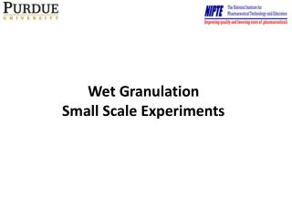 Wet Granulation Small Scale Experiments