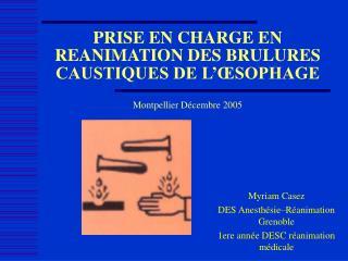 PRISE EN CHARGE EN REANIMATION DES BRULURES CAUSTIQUES DE L ...