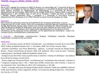 TOSSER, Grégoire (PRAG, RASM, UEVE) Biographie