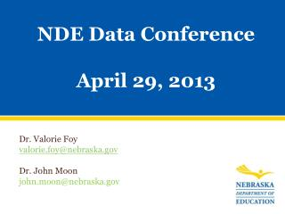 NDE Data Conference April 29, 2013