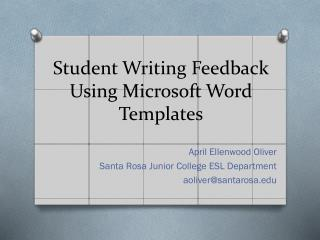 Student Writing Feedback Using Microsoft Word  Templates