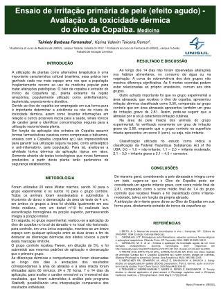 Ensaio de irritação primária de pele (efeito agudo) - Avaliação da toxicidade dérmica