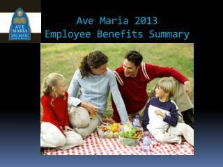 Ave Maria  2013 Employee Benefits Summary