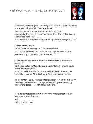 Pink Floyd Project – Torsdag den 8. marts 2012