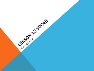 Lesson 13 Vocab