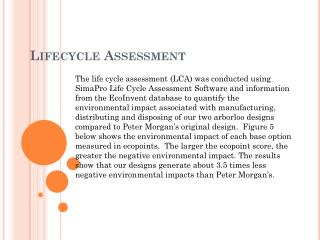 Lifecycle Assessment