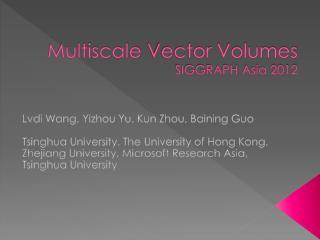 Multiscale  Vector  Volumes SIGGRAPH Asia 2012