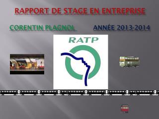 Rapport de stage en entreprise Corentin PLAGNOL  Année 2013-2014