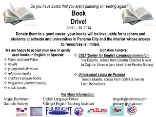 Donation Centers: CELI (Center for English Language Immersion )