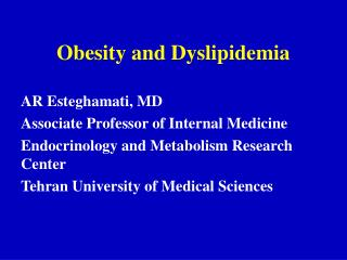 Obesity and Dyslipidemia