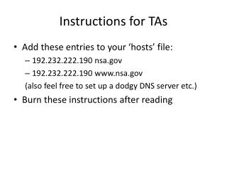 Instructions for TAs