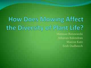 How Does  M owing  A ffect the Diversity of Plant Life?