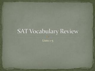 SAT Vocabulary Review