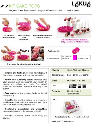 Simplest and healthier process!  Few steps and few minutes to achieve tasty and light cake balls!