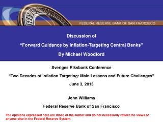 Discussion of  �Forward  Guidance  by Inflation-Targeting  Central  Banks� By Michael Woodford