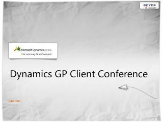 Dynamics GP Client Conference