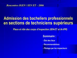 Admission des bacheliers professionnels en sections de ...