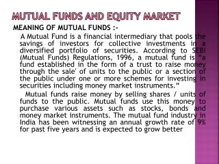 MUTUAL FUNDS AND EQUITY MARKET