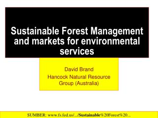 Sustainable Forest Management and markets for environmental services