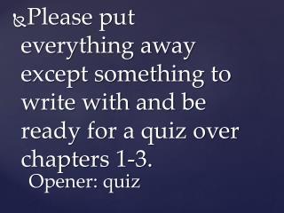 Opener: quiz