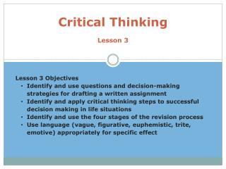 Critical thinking and decision making in nursing ppt