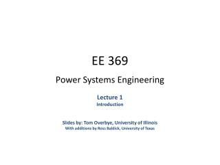 EE 369 Power Systems Engineering