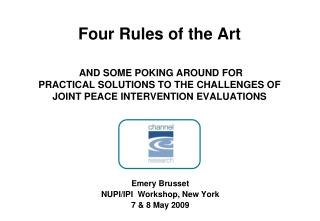 Emery Brusset NUPI/IPI  Workshop, New York 7 & 8 May 2009