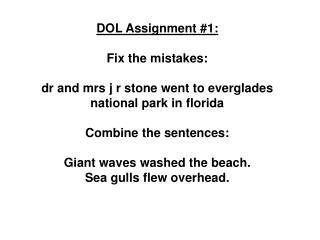 DOL Assignment #1: Fix the mistakes: