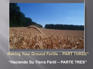 """ Making Your Ground Fertile – PART  THREE"" "" Haciendo  Su Tierra  Fértil  –  PARTE TRES"""